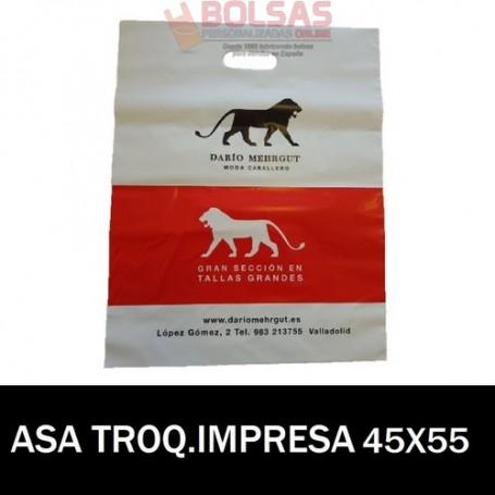 BOLSAS DE PLASTICO ASA TROQUELADA IMPRESAS 45X55 G.200