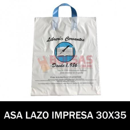 BOLSAS DE PLASTICO ASA DE LAZO IMPRESAS 30X35