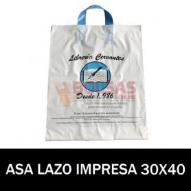 BOLSAS DE PLASTICO ASA DE LAZO IMPRESAS 30X40