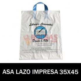 BOLSAS DE PLASTICO ASA DE LAZO IMPRESAS 35X45