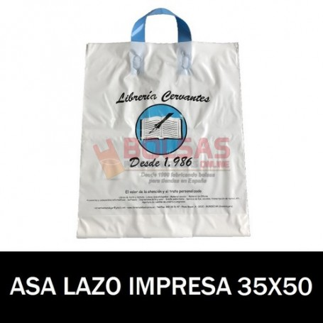 BOLSAS DE PLASTICO ASA DE LAZO IMPRESAS 35X50 G200