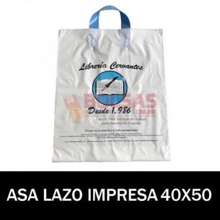 BOLSAS DE PLASTICO ASA DE LAZO IMPRESAS 40x50 G200