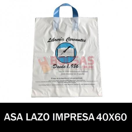 BOLSAS DE PLASTICO ASA DE LAZO IMPRESAS 40x60