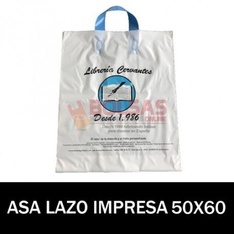 BOLSAS DE PLASTICO ASA DE LAZO IMPRESAS 50X60