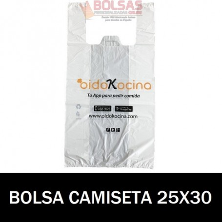 BOLSAS DE PLASTICO PERSONALIZADAS CAMISETA 25X30 10.000 UNIDADES